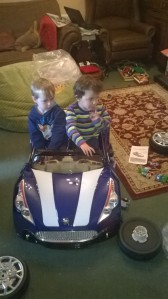 Calvin and Oisin in sports car